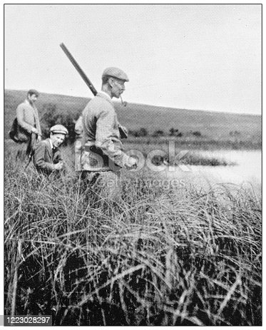 658114236 istock photo Antique black and white photograph of sport, athletes and leisure activities in the 19th century: Wild Fowling 1223028297
