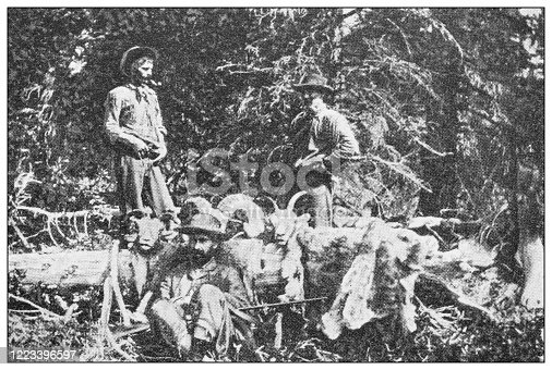 658114236 istock photo Antique black and white photograph of sport, athletes and leisure activities in the 19th century: Bighorn hunting in Canada, Rocky mountains 1223396597