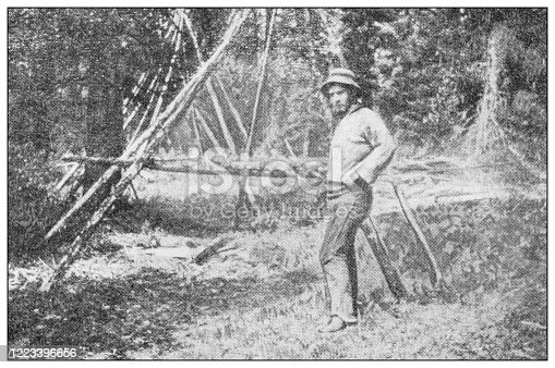 658114236 istock photo Antique black and white photograph of sport, athletes and leisure activities in the 19th century: Bighorn hunting in Canada, Rocky mountains, Drying the meat 1223396656