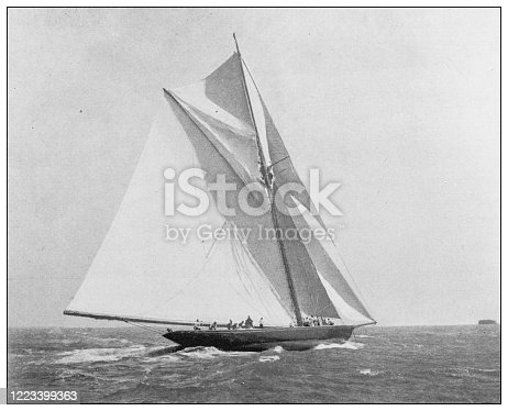 Antique black and white photograph of sport, athletes and leisure activities in the 19th century: Yachting