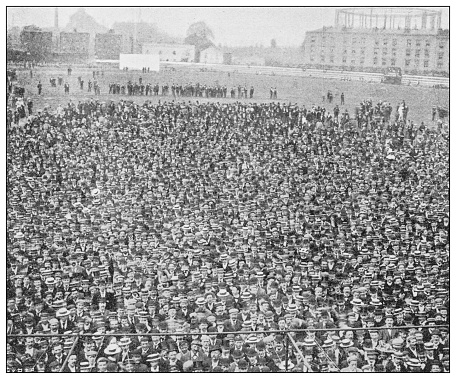 Antique black and white photograph of sport, athletes and leisure activities in the 19th century: Cricket audience for England vs Australia
