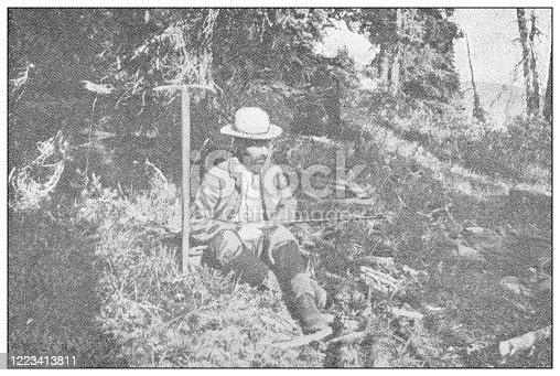 658114236 istock photo Antique black and white photograph of sport, athletes and leisure activities in the 19th century: Chamois hunting 1223413811