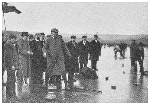 Antique black and white photograph of sport, athletes and leisure activities in the 19th century: Curling competition in Carsebreck