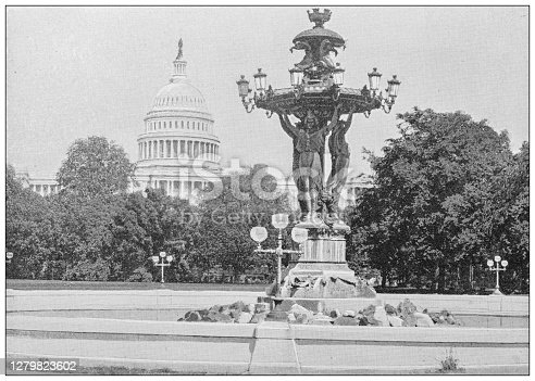 Antique black and white photograph of Washington, USA: Bartholdi fountain