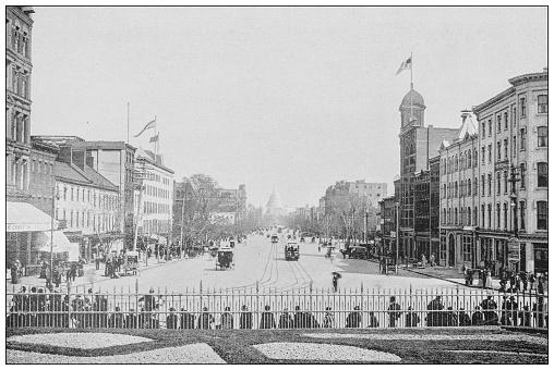Antique black and white photograph of Washington, USA: Pennsylvania Avenue
