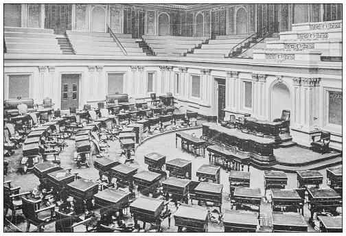 Antique black and white photograph of Washington, USA: Senate chamber, Capitol