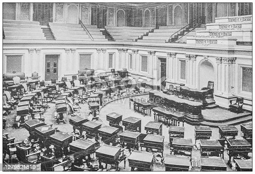 Antique black and white photograph of Washington, USA: Senate chamber, Capitol