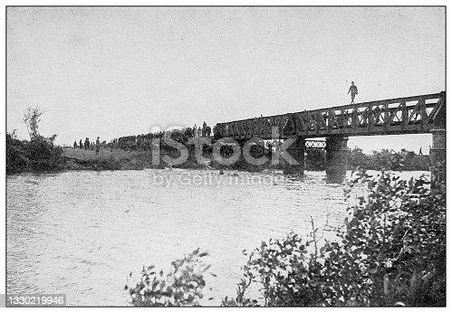 istock Antique black and white photograph: railroad bridge, Bulacan, Philippines 1330219946