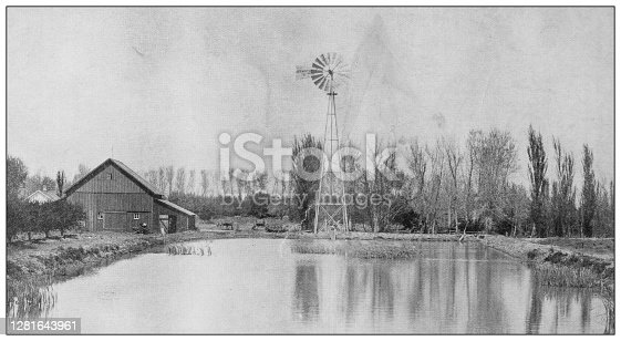 Antique black and white photograph: Reservoir and Windmill used in irrigation