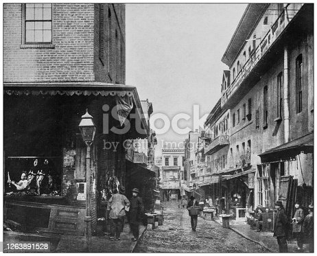 Antique black and white photograph: San Francisco chinatown