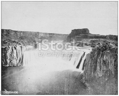 Antique black and white photograph: Shoshone Waterfall