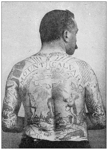 Antique black and white photograph: Tattoos