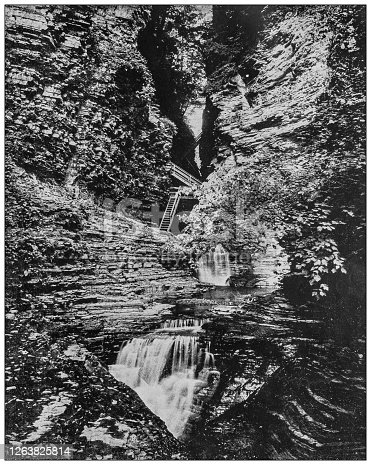 istock Antique black and white photograph: Watkins Glen State Park 1263825814