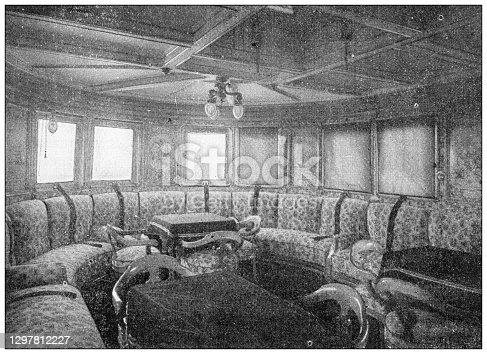 Antique black and white photograph: Wilhelm II, German Emperor ship