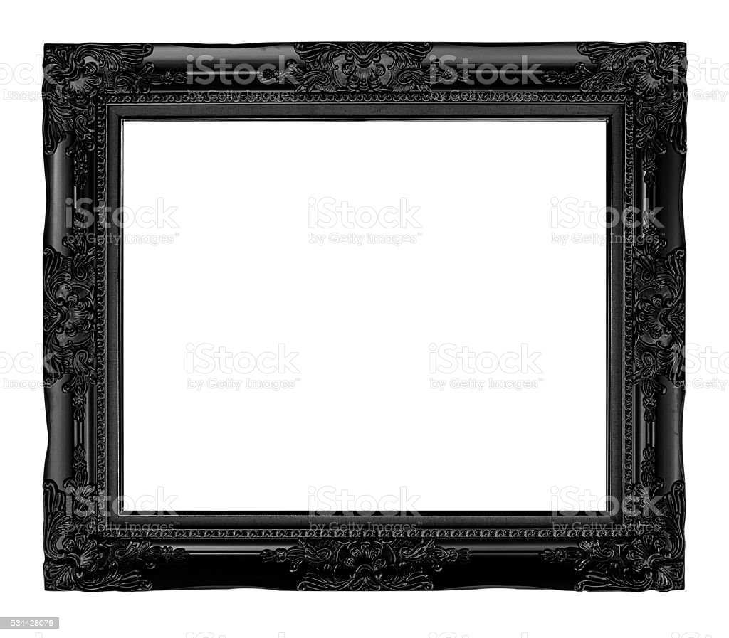 antique black  frame isolated on white background, clipping path stock photo