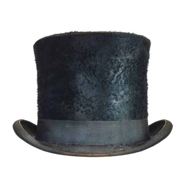 Antik schwarz Herren Hut isoliert auf weiss – Foto