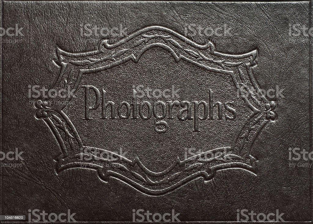 Antique Black Leather Photo Album Detail royalty-free stock photo