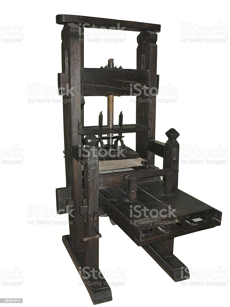 antique black letterpress isolated on white royalty-free stock photo