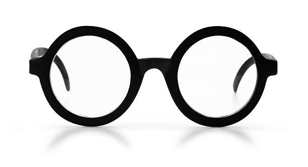 Antique Black Rim Glasses on a White Background stock photo