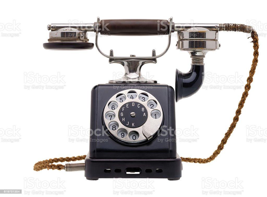 Antique black telephone stock photo