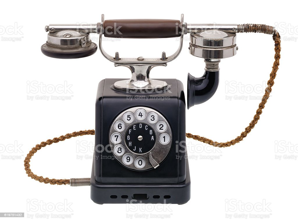 Antique black telephone stock photo
