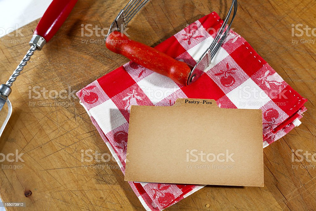 Antique Blank Baking Pie & Cake Recipe, Old Fashioned Paper Background royalty-free stock photo