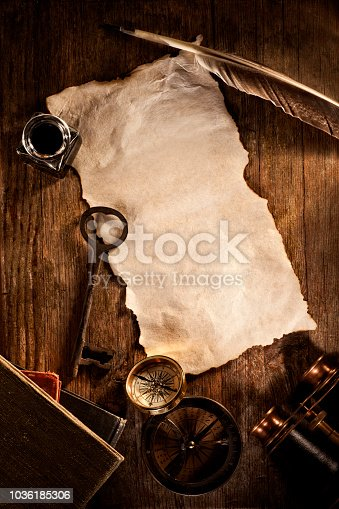 istock Antique blank piece of paper with Key Compasses for Discovery and Adventure 1036185306