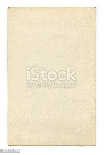 istock Antique blank postcard with clipping path 543214276
