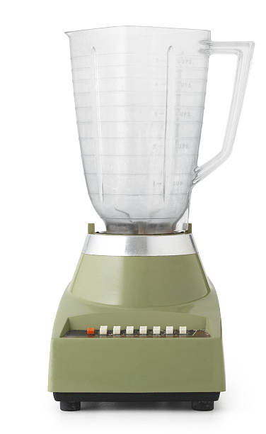 Antique blender front Green retro antique blender, isolated on white, with a clipping path if needed. blender stock pictures, royalty-free photos & images