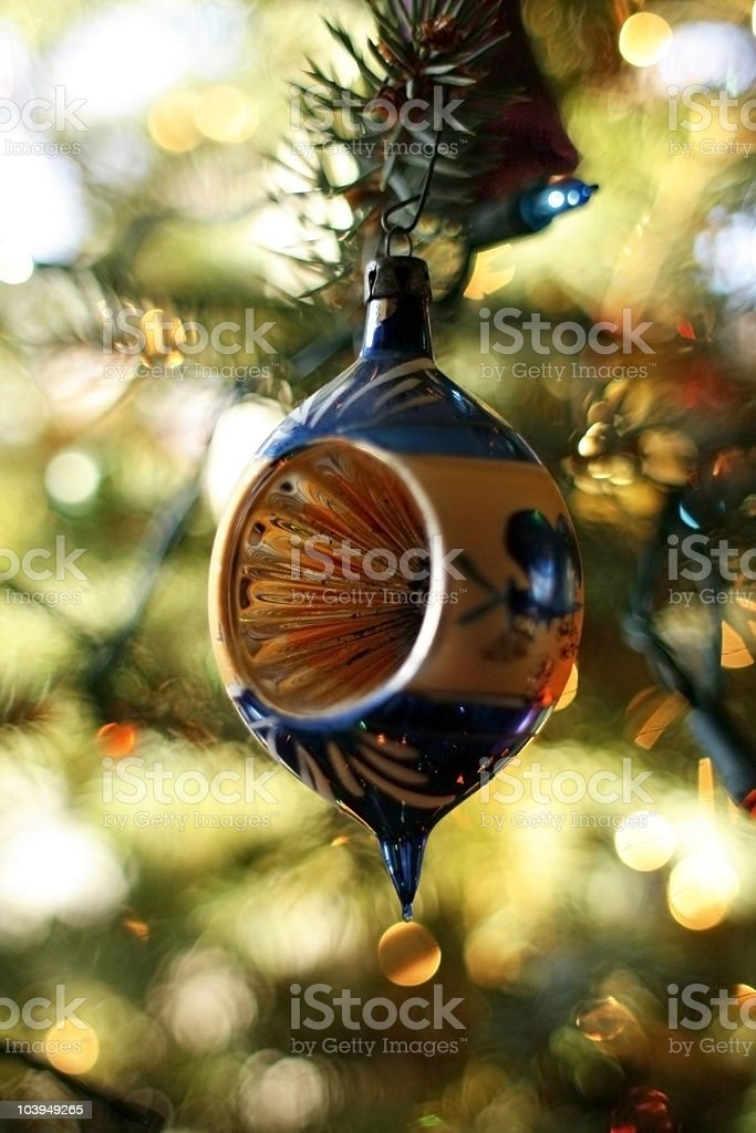 Antique Blown Glass Christmas Ornament Hanging on Tree stock photo