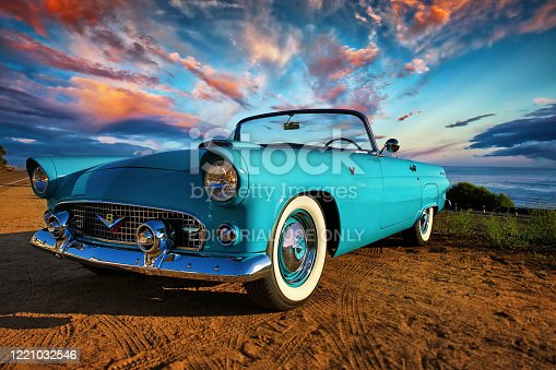 San Diego, California, United States -August 15th 2015: This is a close up photo of a baby blue 1956 Ford Thunderbird convertible car. This was the first two seat Ford since 1938. This image was shot on the bluff overlooking the Pacific Ocean in North county San Diego on a beautiful sunny day.