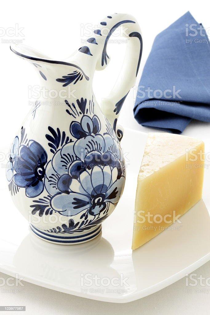 Antique blue delft milk jar stock photo