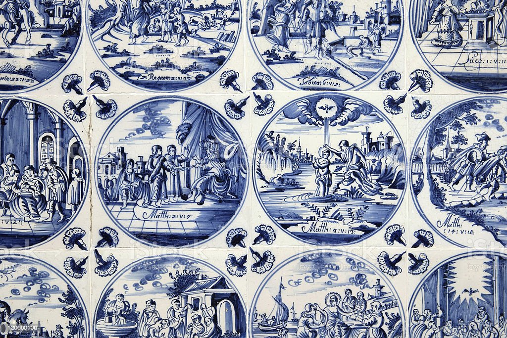 Antique Blue Delft Tiles stock photo