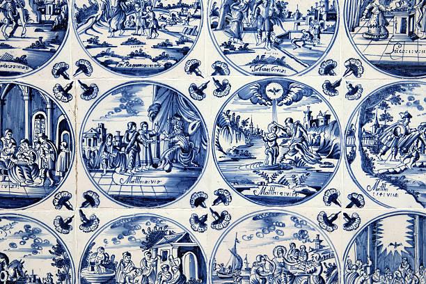 Antique Blue Delft Tiles stock photo