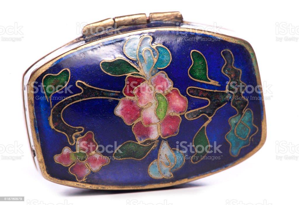 antique  blue enamel cloisonne snuffbox stock photo
