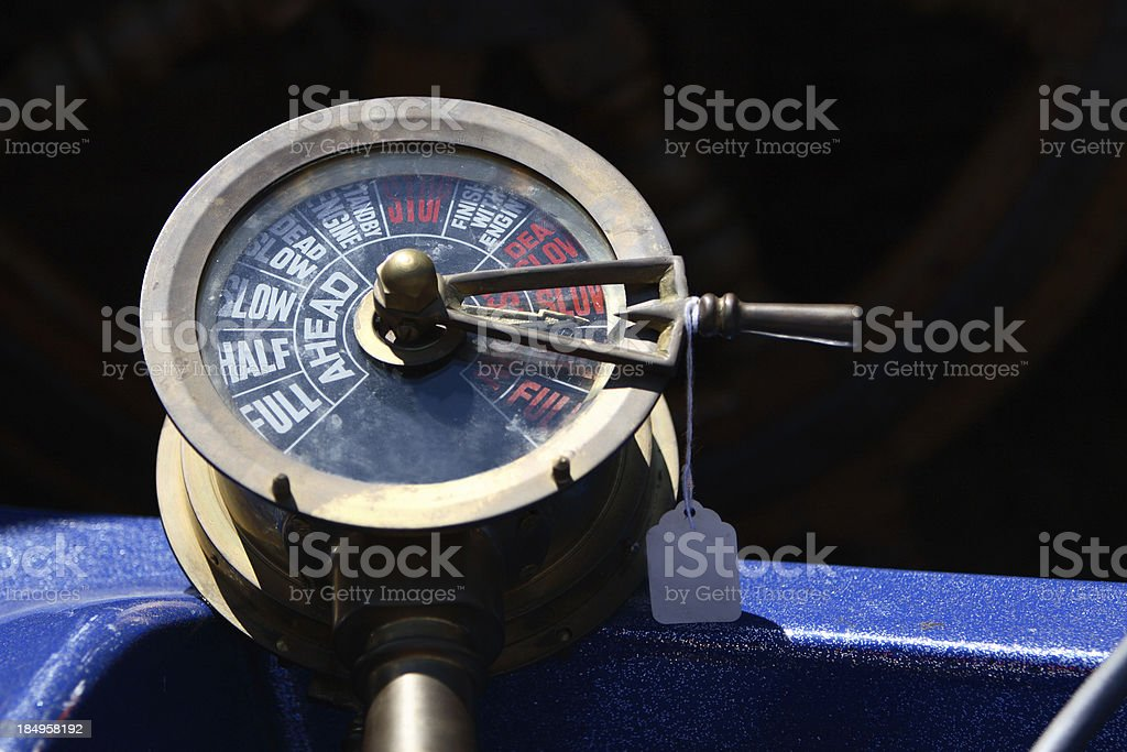 Antique Boat Throttle Control stock photo