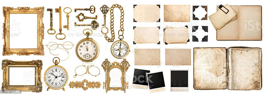 Antique book, aged paper, golden keys. Collection of vintage objects stock photo