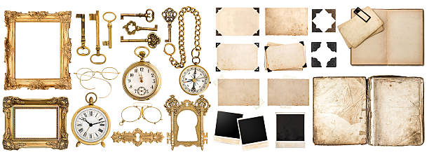 antique book, aged paper, golden keys. collection of vintage objects - photo corner stock photos and pictures