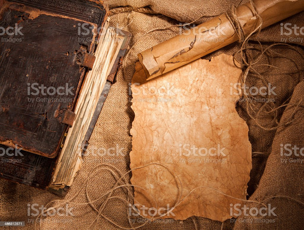 antique book and old papers stock photo