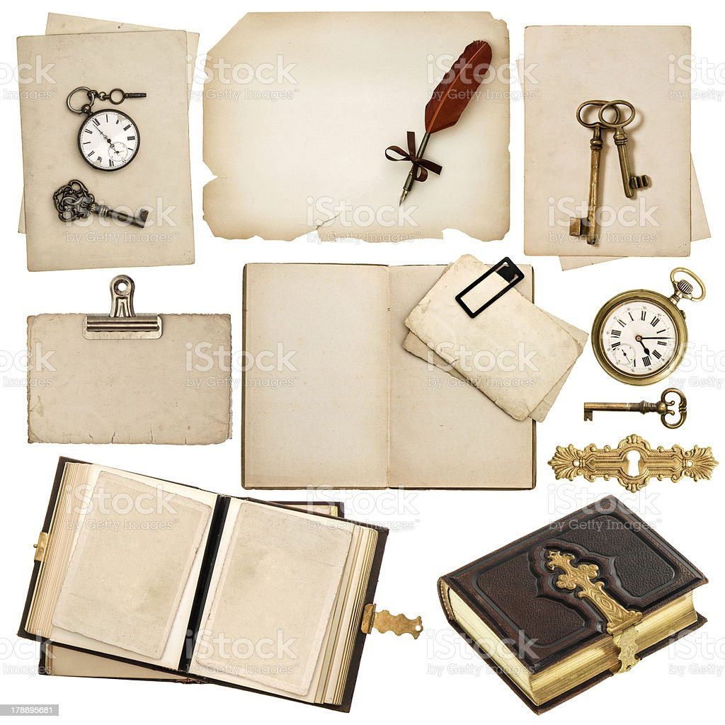 antique book and vintage accessories isolated on white royalty-free stock photo