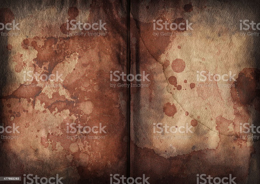 Antique Book Blank Pages Blood Stained Vignette Grunge Texture stock photo