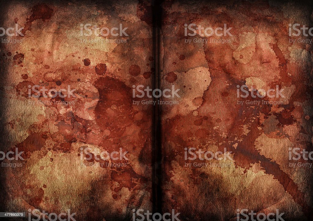 Antique Book Blank Pages Blood Stained Vignette Grunge Texture royalty-free stock photo