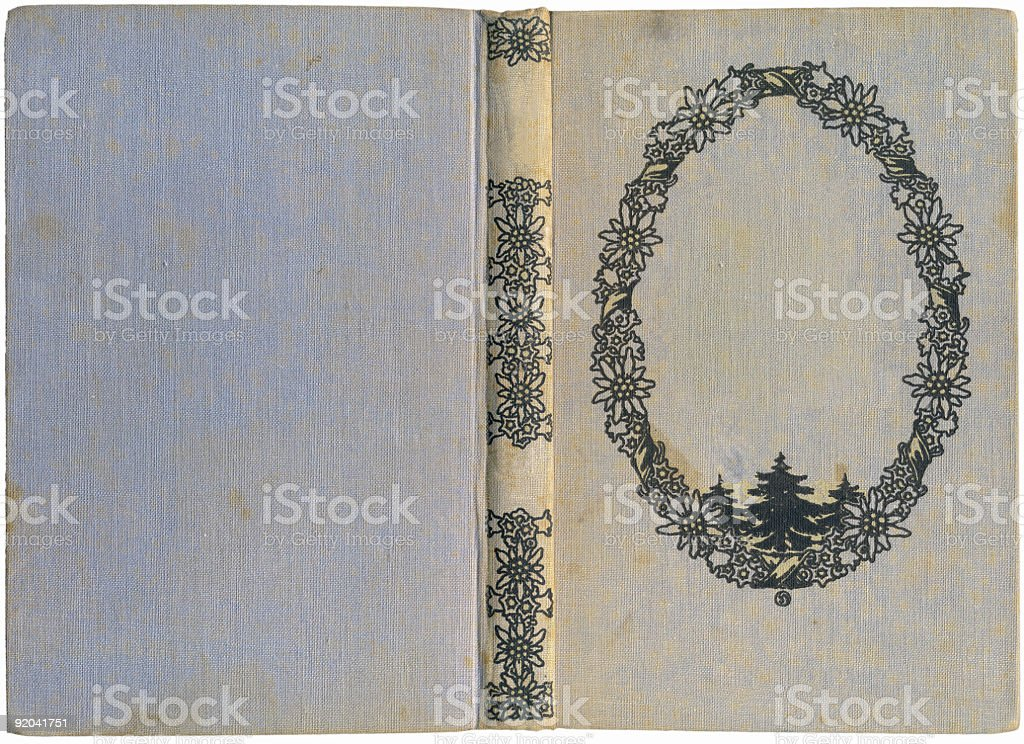 Antique book cover with edelweiss royalty-free stock photo