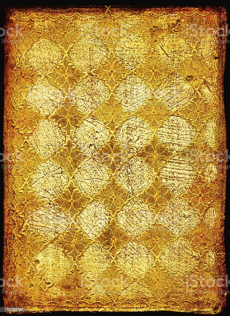 Antique Book Cover with Gold Leaf royalty-free stock photo