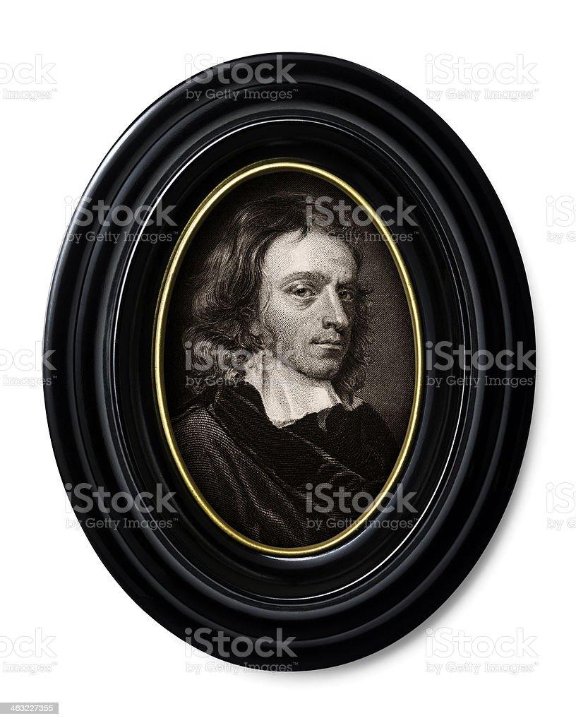 Antique book illustration: John Milton stock photo