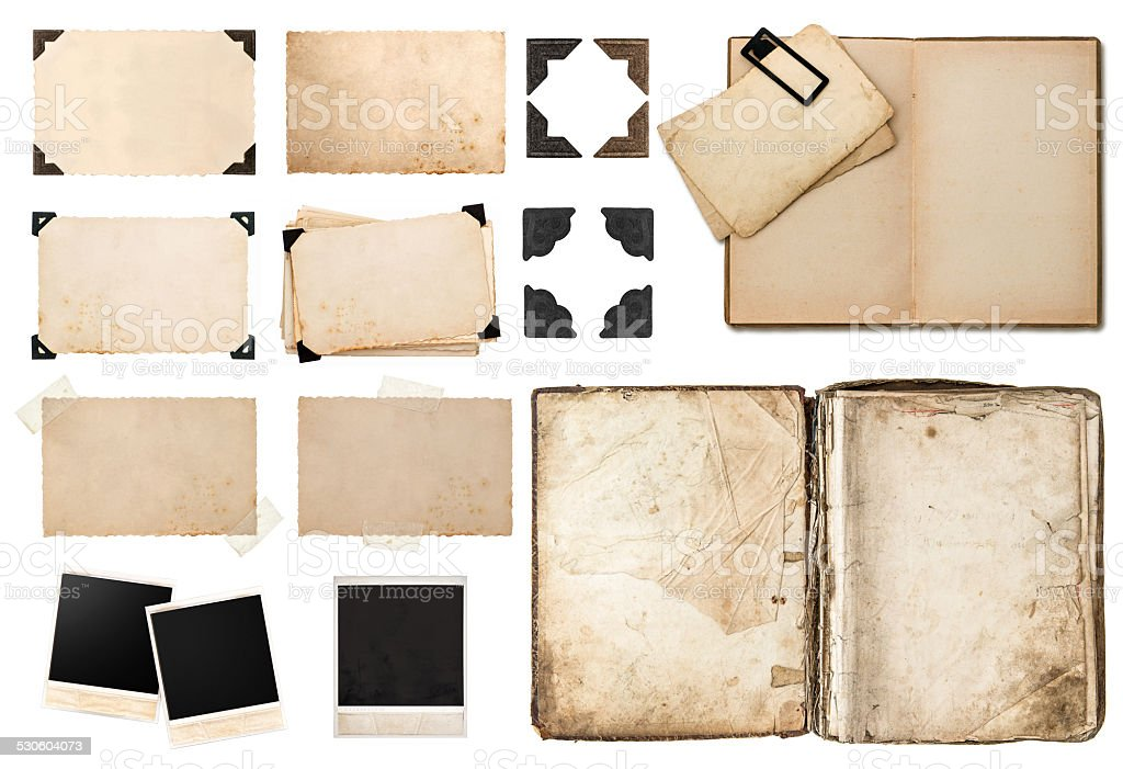 antique book, vintage paper card with corners, tapes and frames stock photo