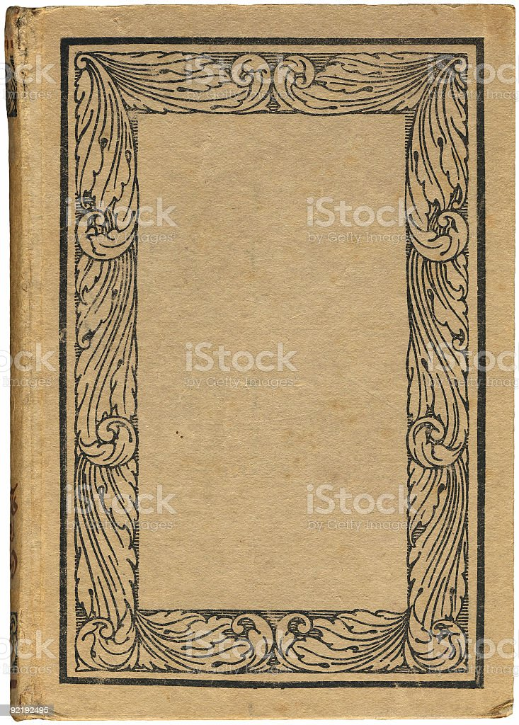 Antique Book with an illustration of a floral frame stock photo