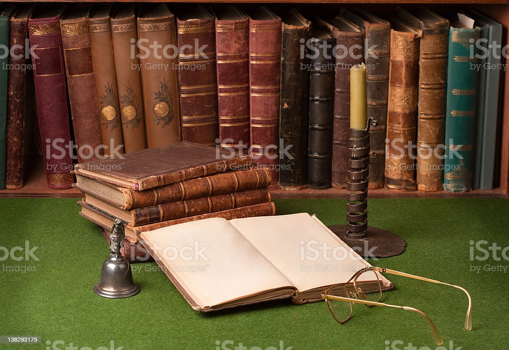 Antique Books and Candlestick royalty-free stock photo