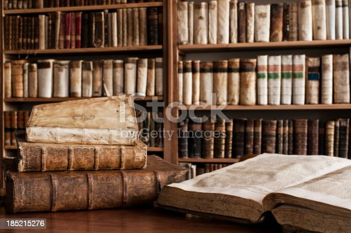 istock Antique books in a library 185215276