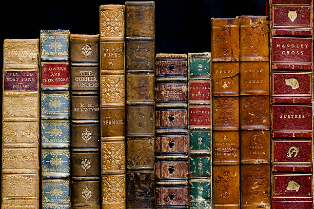 antique books on a shelf - literature stock pictures, royalty-free photos & images